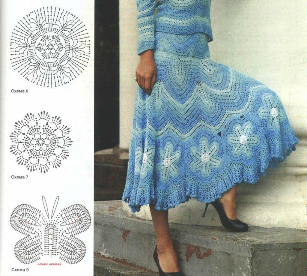 юбки крючком со схемами осень-зима