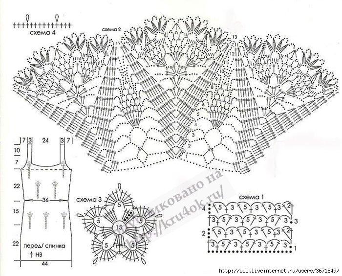 схема вязания шали крючком