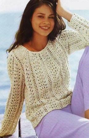 женские пуловеры вязаные спицами схемы описание