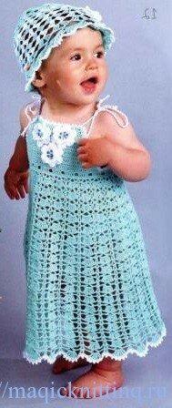 летние вязаные платья со схемами шапочки