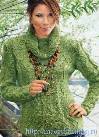 связать женский пуловер спицами