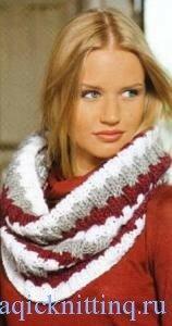 шарф - воротник. Схема вязания спицами